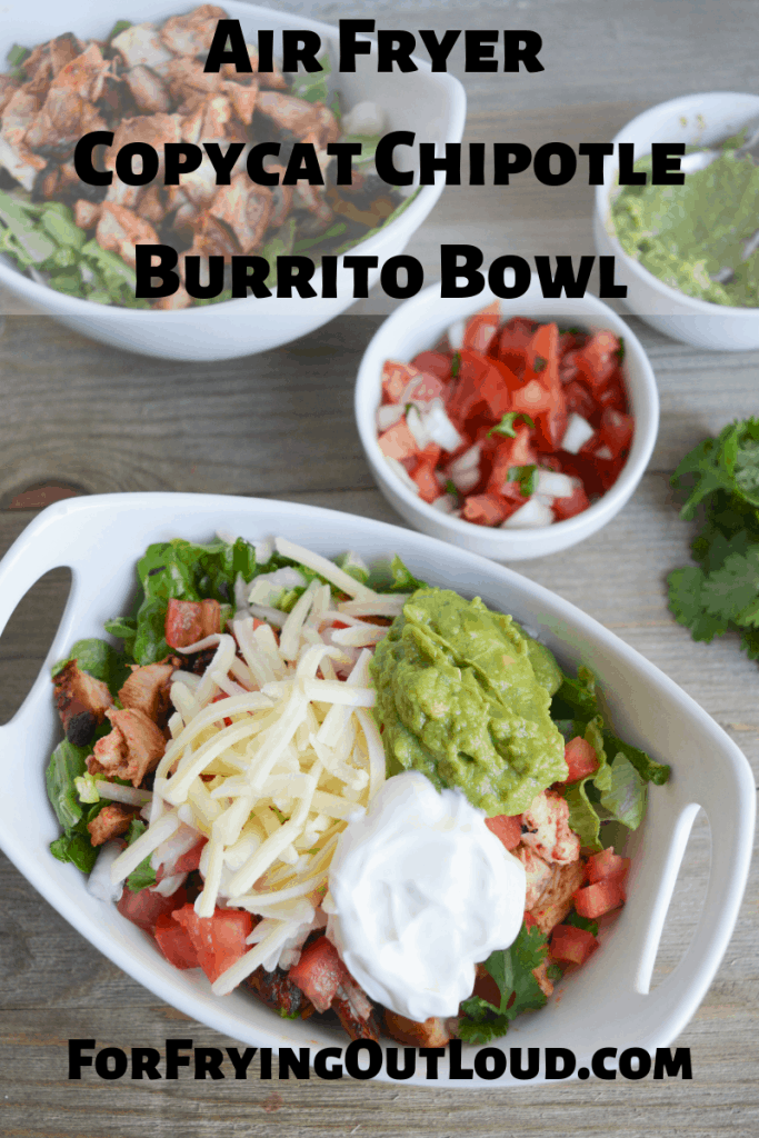 This Air Fryer Copycat Chipotle Burrito Bowl is an easy and delicious alternative to fast food that comes together in just about 30 minutes! | forfryingoutloud.com