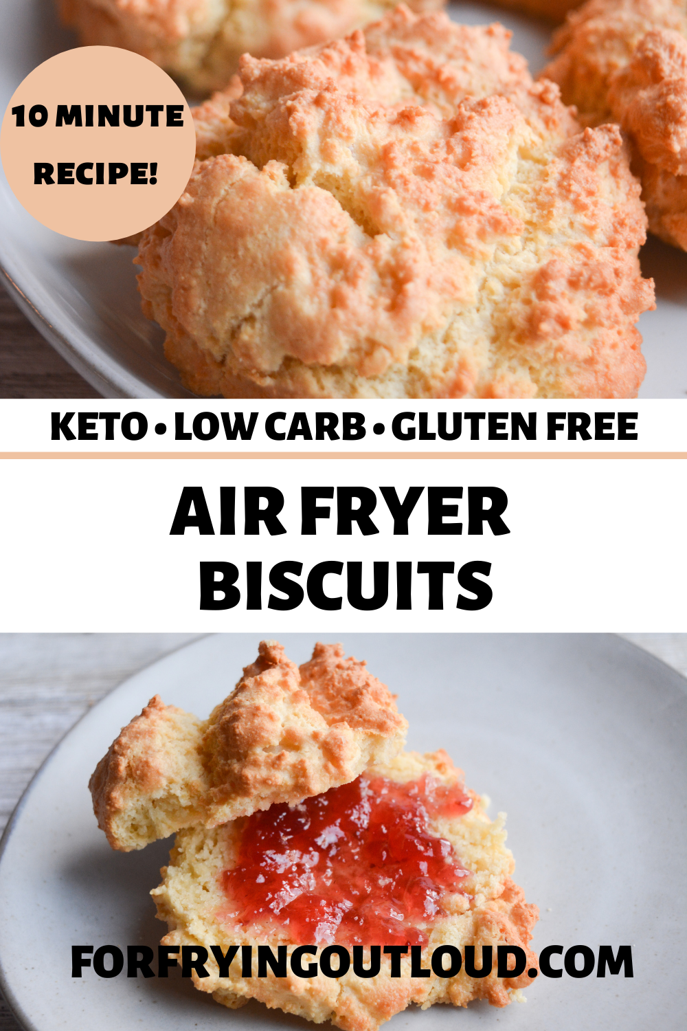 These keto biscuits are the perfect low carb side dish. You're only 6 ingredients away from a delicious air fryer recipe that cooks in only 10 minutes!